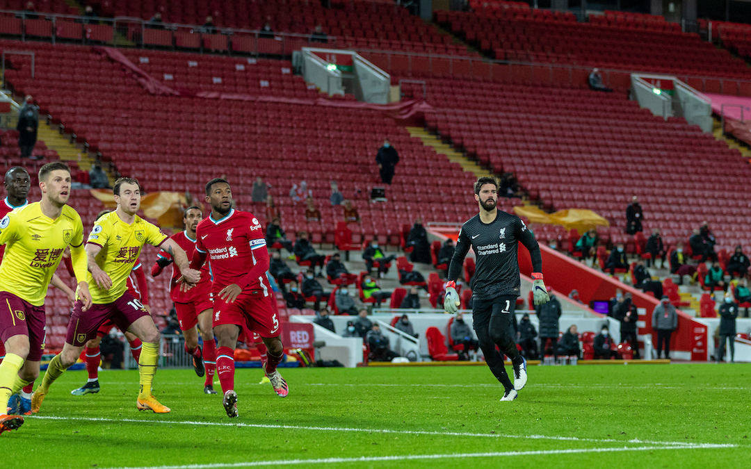Liverpool's goalkeeper Alisson Becker runs up to the Burnley half for a corner in injury time with his side trailing 1-0 during the FA Premier League match between Liverpool FC and Burnley FC at Anfield.