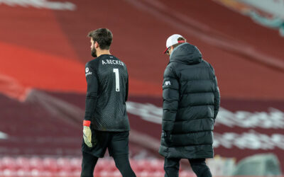 Liverpool's goalkeeper Alisson Becker walks off with manager Jurgen Klopp after the FA Premier League match between Liverpool FC and Burnley FC at Anfield.