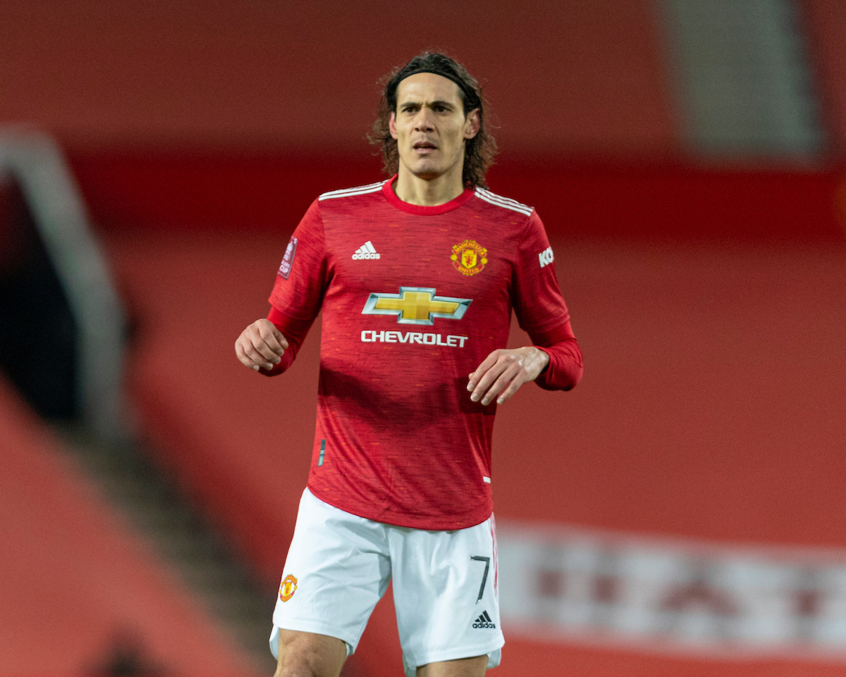 Manchester United's Edinson Cavani during the FA Cup 4th Round match between Manchester United FC and Liverpool FC at Old Trafford.