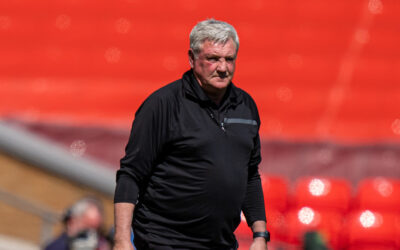 Newcastle United's manager Steve Bruce during the FA Premier League match between Liverpool FC and Newcastle United FC at Anfield.