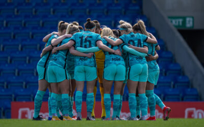 Liverpool players form a pre-match team huddle before the FA Women's Championship game between Sheffield United FC Women and Liverpool FC Women at the Technique Stadium