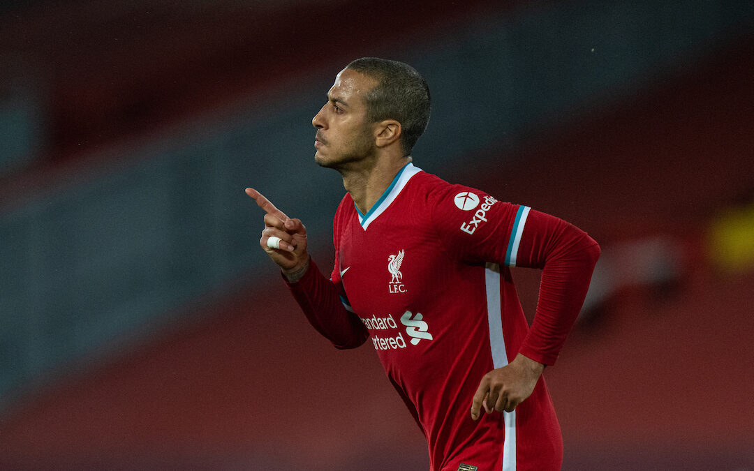 Liverpool's Thiago Alcantara celebrates after scoring the second goal during the FA Premier League match between Liverpool FC and Southampton FC at Anfield.