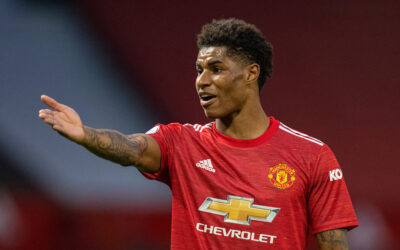 Marcus Rashford during the FA Premier League match between Manchester United FC and Liverpool FC at Old Trafford.