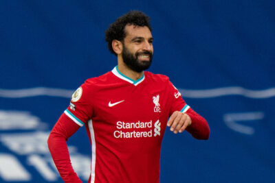 Liverpool's Mo Salah celebrates after scoring the first equalising goal during the FA Premier League match between West Bromwich Albion FC and Liverpool FC at The Hawthorns.