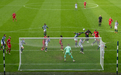Alisson Becker scores an injury time winning goal to sealed a 2-1 victory during the FA Premier League match between West Brom and Liverpool FC at The Hawthorns.