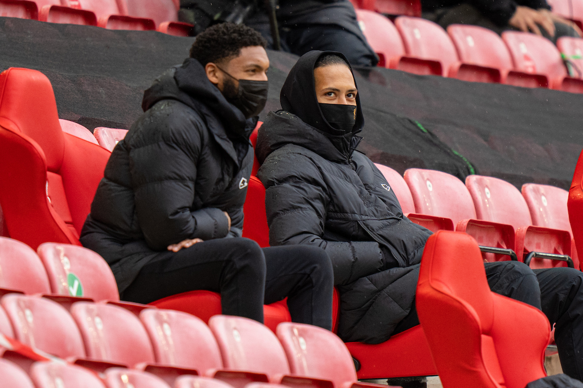 Liverpool's injured Virgil van Dijk and Joe Gomez during the final FA Premier League match between Liverpool FC and Crystal Palace FC at Anfield.