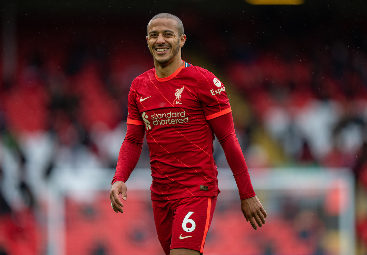 Liverpool's Thiago Alcantara during the final FA Premier League match between Liverpool FC and Crystal Palace FC at Anfield.