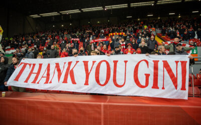 """Liverpool supporters' banner """"Thank you Gini Wijnaldum"""" during the final FA Premier League match between Liverpool FC and Crystal Palace FC at Anfield."""
