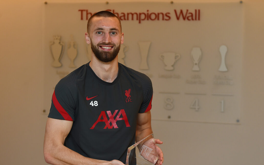 Nat Phillips is unveiled as the winner of The Anfield Wrap's Embodiment of Liverpool FC award 2021