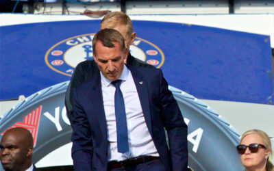 Leicester City manager Brendan Rodgers during the FA Premier League match between Chelsea's FC and Leicester City FC at Stamford Bridge.