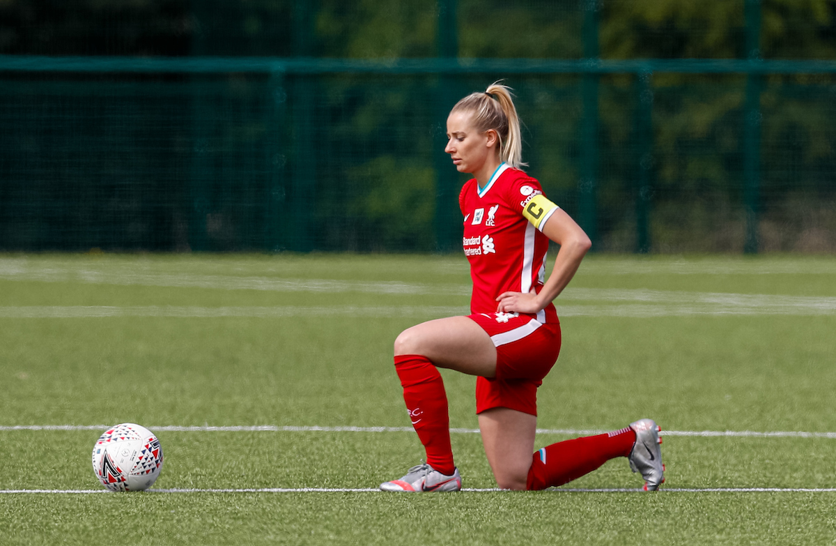Liverpool's Kirsty Linnett kneels down (takes a knee) in support of the Black Lives Matter movement before the Women's FA Cup 4th Round match between Leicester City FC Women and Liverpool FC Women at Farley Way Stadium.