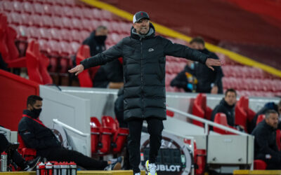 Liverpool's manager Jürgen Klopp reacts during the FA Premier League match between Liverpool FC and Southampton FC at Anfield.