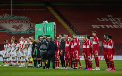 Liverpool players line-up before the FA Premier League match between Liverpool FC and Southampton FC at Anfield.