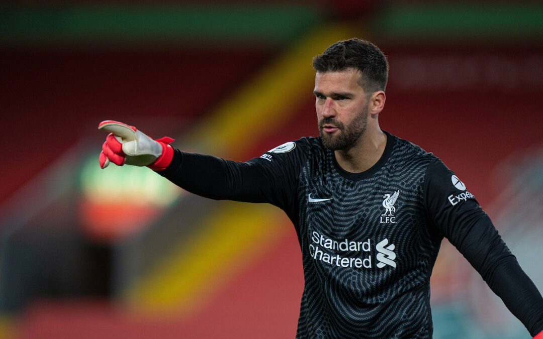 Liverpool's goalkeeper Alisson Becker during the FA Premier League match between Liverpool FC and Southampton FC at Anfield.