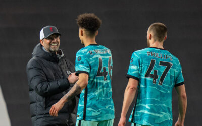 Liverpool's manager Jürgen Klopp celebrates with Rhys Williams after the FA Premier League match between Manchester United FC and Liverpool FC at Old Trafford. Liverpool won 4-2.