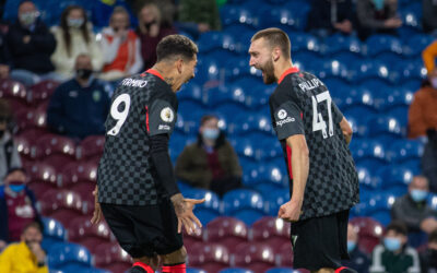 Liverpool's Nat Phillips (R) celebrates after scoring the second goal during the FA Premier League match between Burnley FC and Liverpool FC at Turf Moor.
