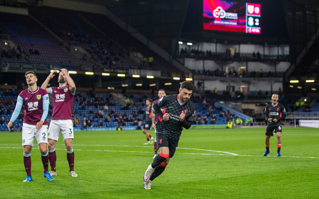 Liverpool's Alex Oxlade-Chamberlain celebrates after scoring the third goal during the FA Premier League match between Burnley FC and Liverpool FC at Turf Moor.