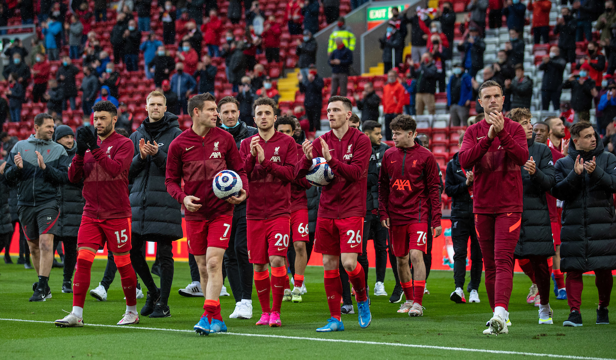 Liverpool players on a lap of honour after the final FA Premier League match between Liverpool FC and Crystal Palace FC at Anfield.