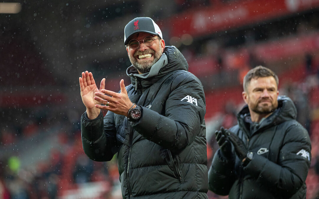 Liverpool manager Jurgen Klopp on a lap of honour after the final FA Premier League match between Liverpool FC and Crystal Palace FC at Anfield.