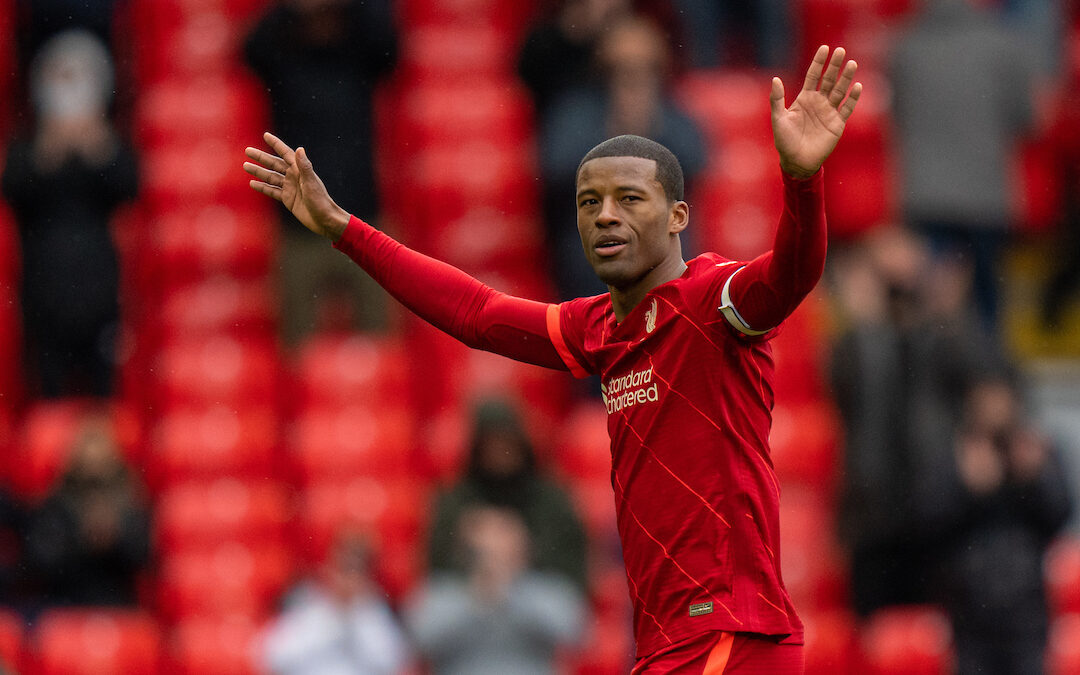Liverpool's Gini Wijnaldum waves to the crowd as he is substituted during the final FA Premier League match between Liverpool FC and Crystal Palace FC at Anfield.