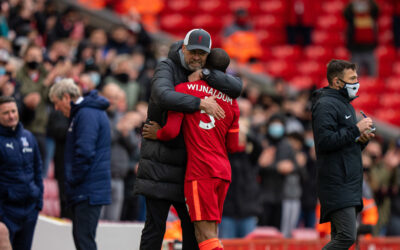 Liverpool's manager Jurgen Klopp embraces Gini Wijnaldum as he is substituted during the final FA Premier League match between Liverpool FC and Crystal Palace FC at Anfield.