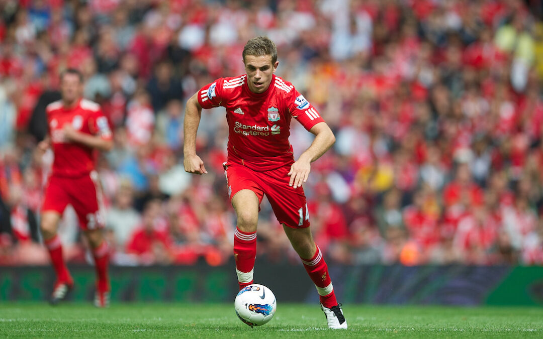 Jordan Henderson in action for Liverpool FC against Sunderland during the Premiership match at Anfield in 2011.