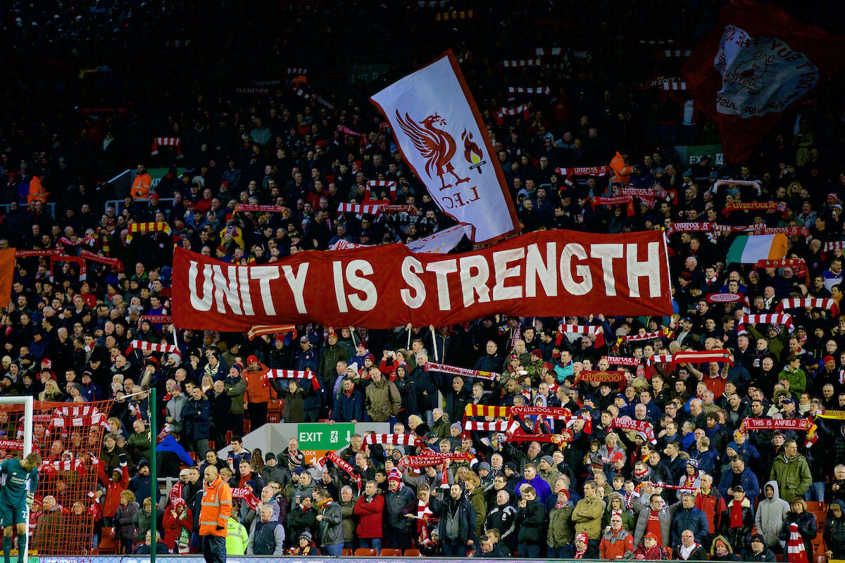 'Unity is Strength' Liverpool supporters' banner