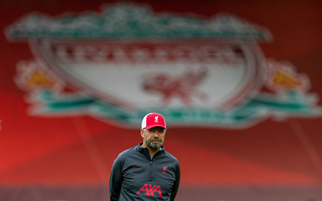 Liverpool's manager Jürgen Klopp during the pre-match warm-up before the opening FA Premier League match between Liverpool FC and Leeds United FC at Anfield.