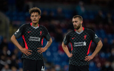 Liverpool's Rhys Williams and Nathaniel Phillips during the FA Premier League match between Burnley FC and Liverpool FC at Turf Moor.