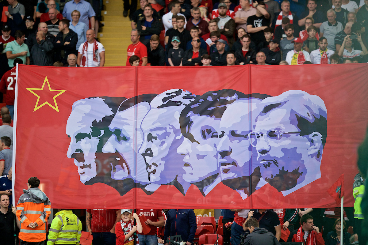 Liverpool supporters' banner featuring Rafa Benitez