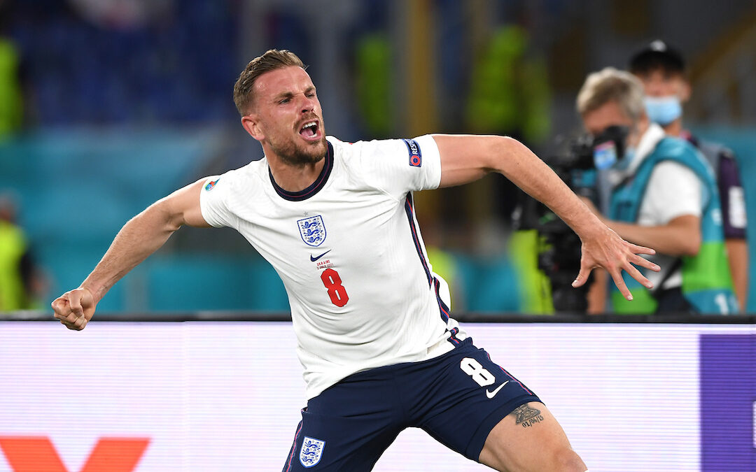 Jordan Henderson of Liverpool playing for England at EURO 2020