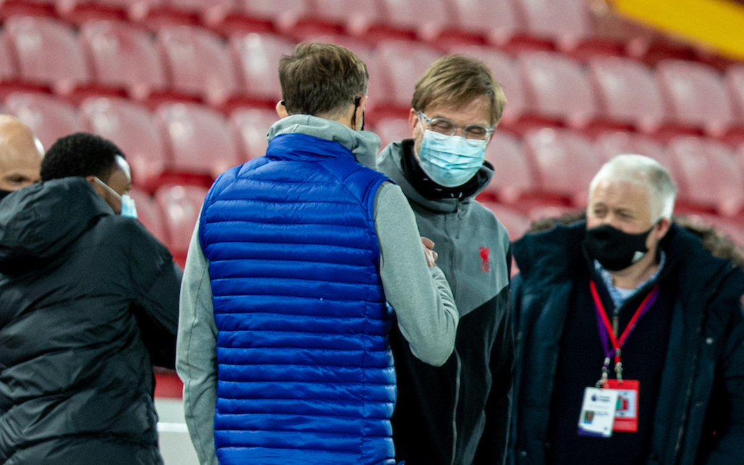 Liverpool's manager Jürgen Klopp (R) and Chelsea's manager Thomas Tuchel before the FA Premier League match between Liverpool FC and Chelsea FC at Anfield