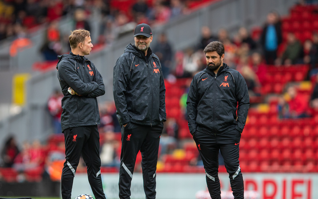 Liverpool's manager Jürgen Klopp (C) with first-team development coach Pepijn Lijnders (L) and elite development coach Vitor Matos (R) during the pre-match warm-up before a pre-season friendly match between Liverpool FC and Athletic Club de Bilbao at Anfield