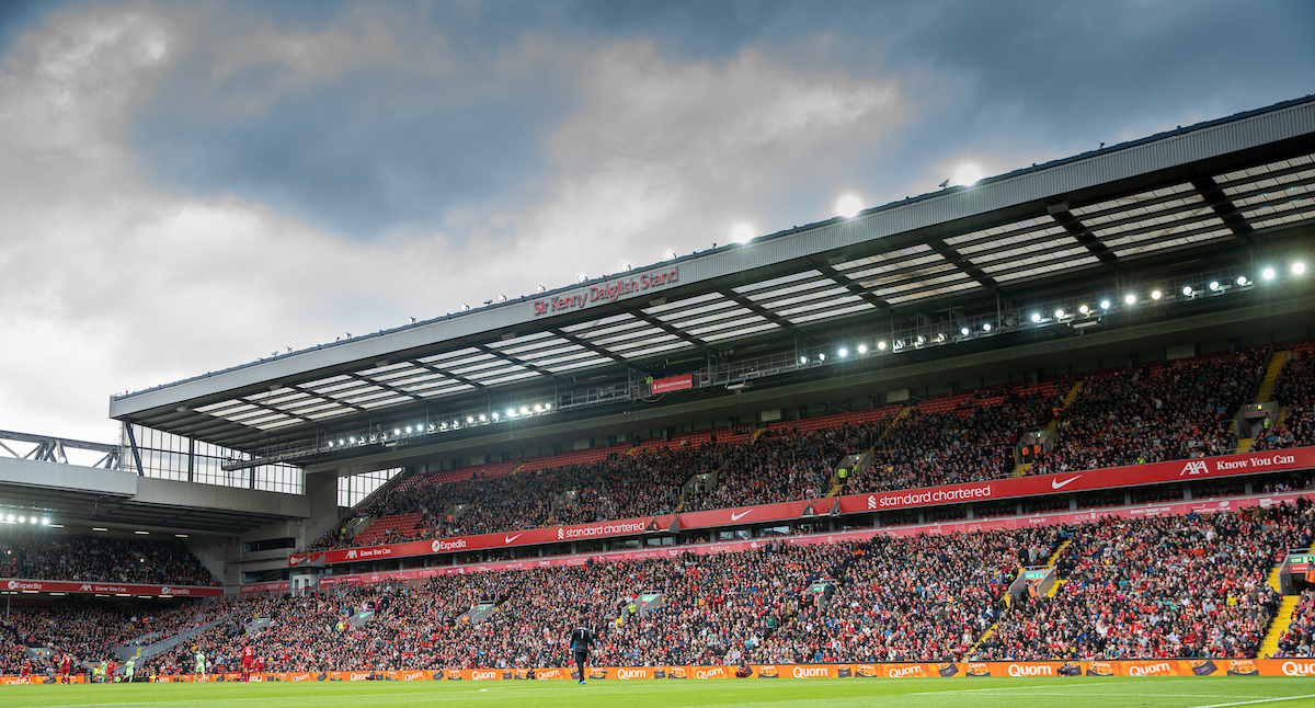 Supporters in the Kenny Dalglish Stand during a pre-season friendly match between Liverpool FC and Athletic Club de Bilbao at Anfield