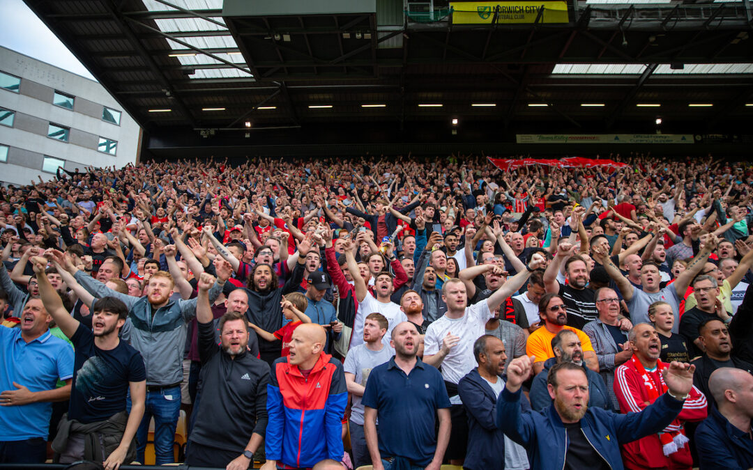 Liverpool supporters during the FA Premier League match between Norwich City FC and Liverpool FC at Carrow Road
