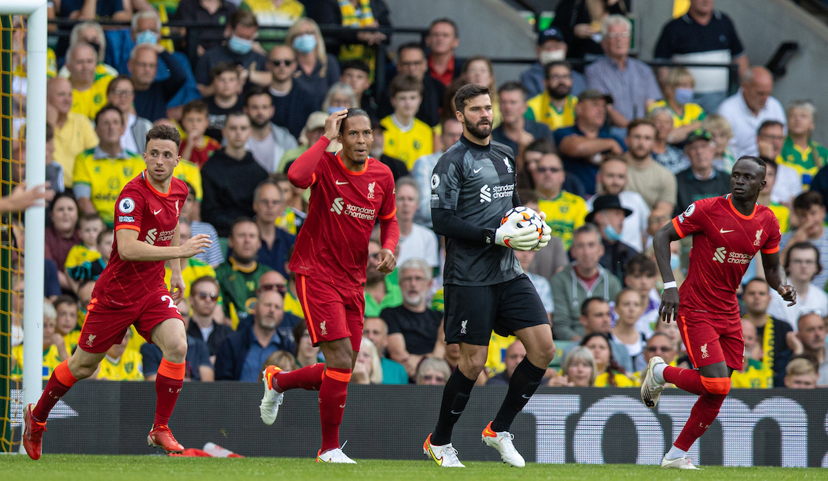 Liverpool's Diogo Jota, Virgil van Dijk, goalkeeper Alisson Becker and Sadio Mané during the FA Premier League match between Norwich City FC and Liverpool FC at Carrow Road