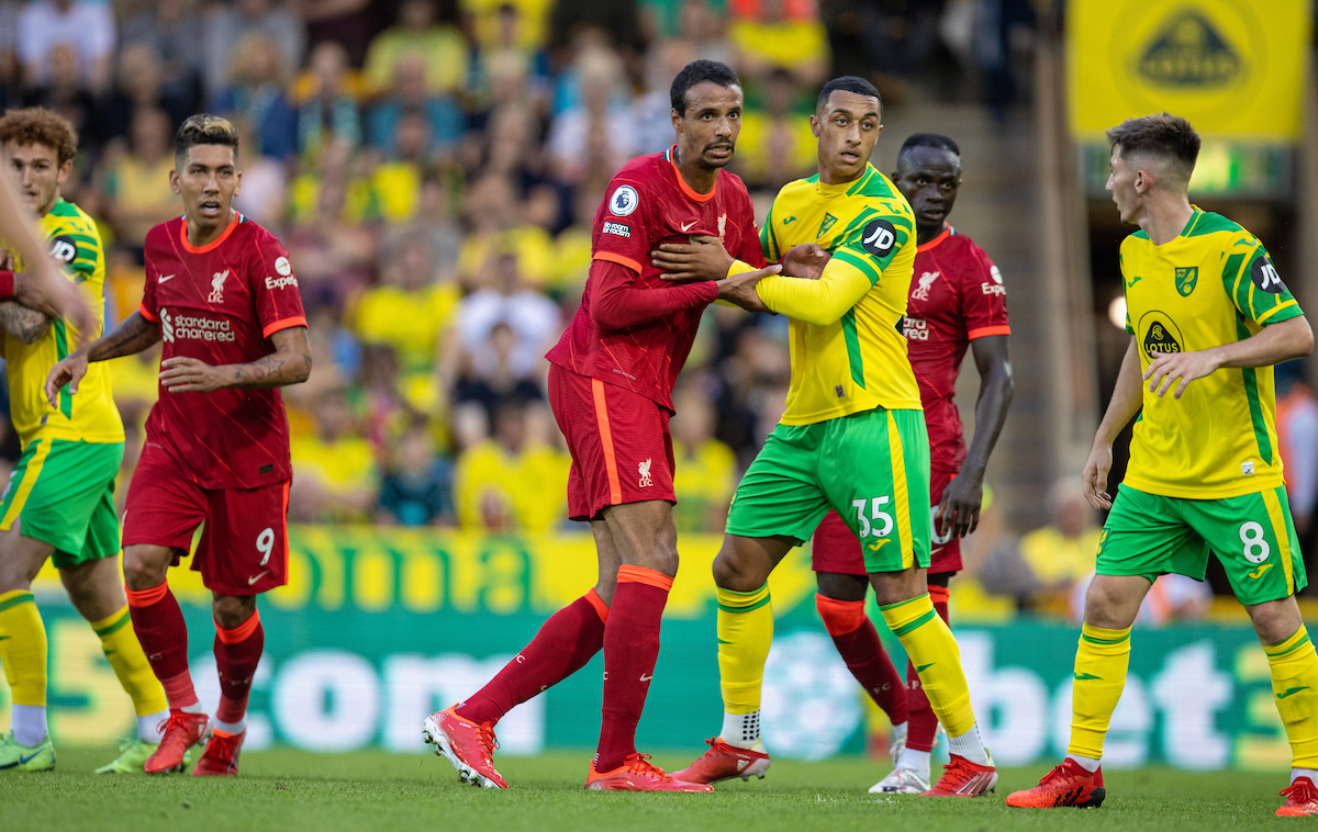 Liverpool's Joel Matip during the FA Premier League match between Norwich City FC and Liverpool FC at Carrow Road