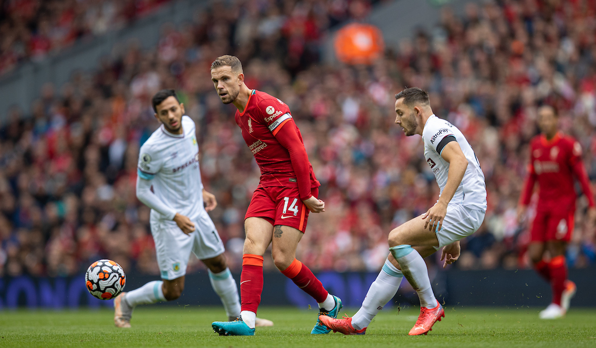 Liverpool's captain Jordan Henderson during the FA Premier League match between Liverpool FC and Burnley FC at Anfield