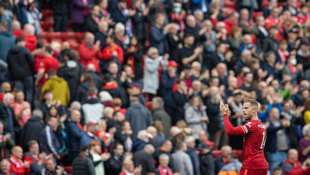 Liverpool's captain Jordan Henderson applauds the supporters after the FA Premier League match between Liverpool FC and Burnley FC at Anfield