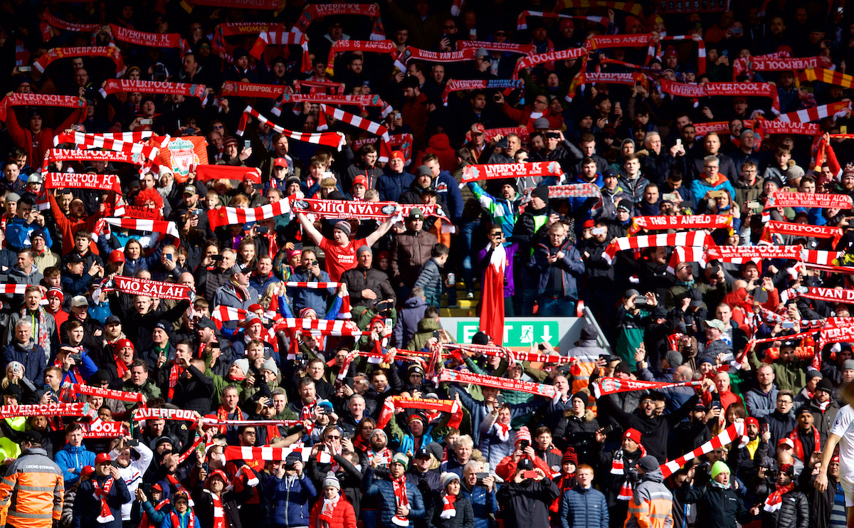 """Liverpool supporters singing """"You will never walk alone"""" before the FA Premier League match between Liverpool FC and Burnley FC at Anfield"""