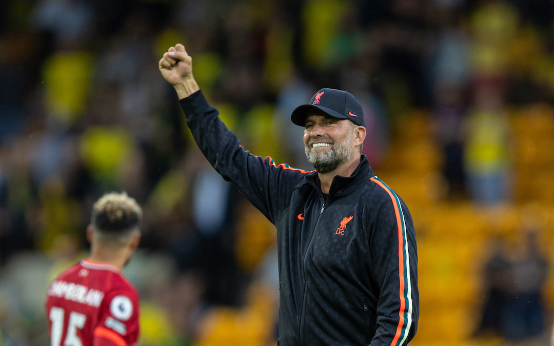 Liverpool's manager Jürgen Klopp waves to supporters after the FA Premier League match between Norwich City FC and Liverpool FC at Carrow Road