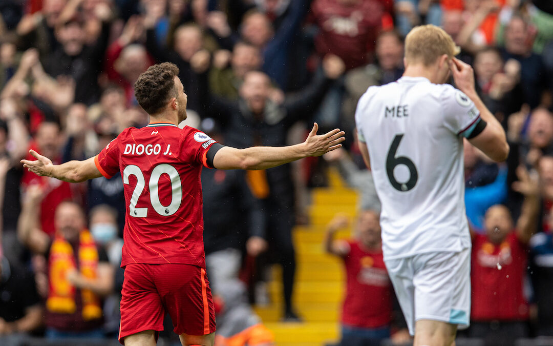 Liverpool's Diogo Jota celebrates after scoring the first goal during the FA Premier League match between Liverpool FC and Burnley FC at Anfield