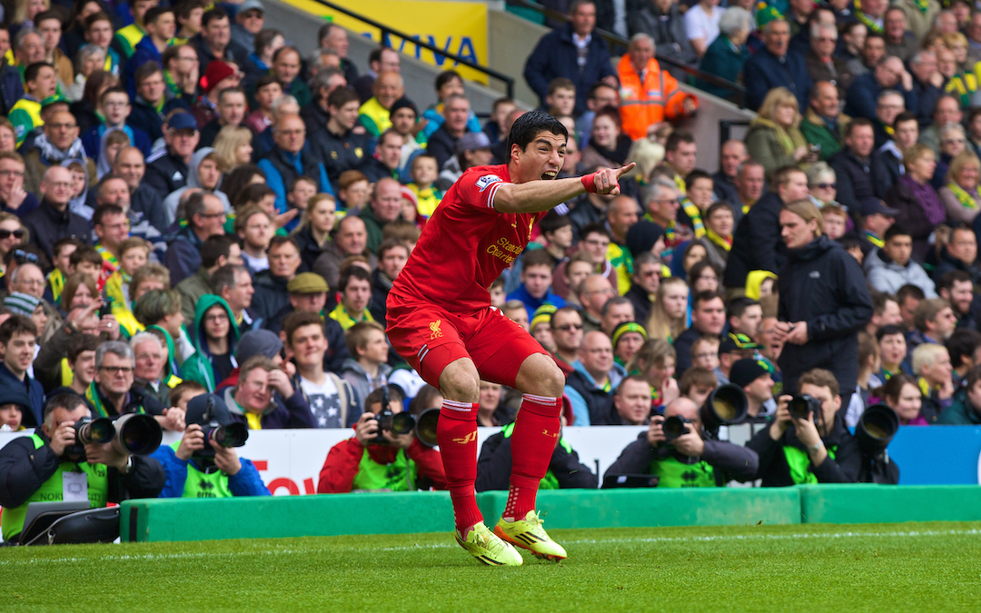 Liverpool's Luis Suarez celebrates scoring the second goal against Norwich City during the Premiership match at Carrow Road