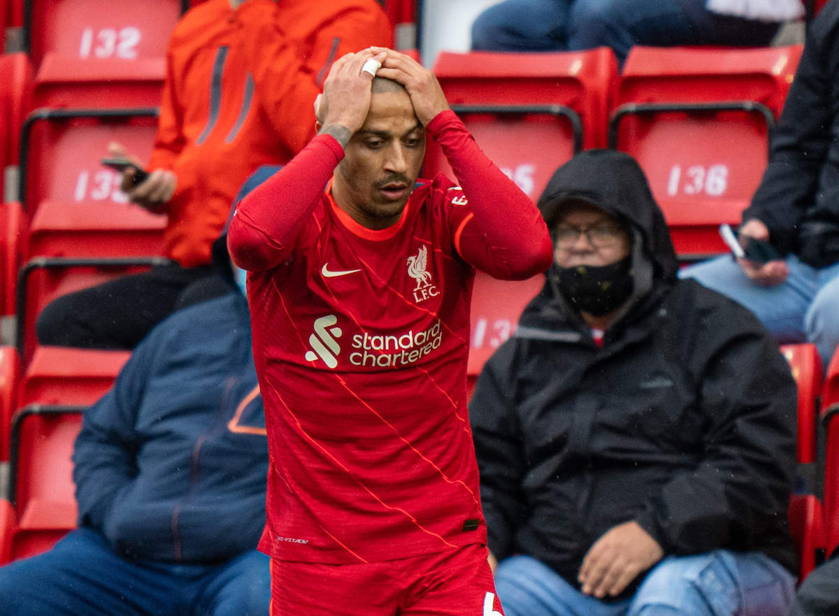 Liverpool's Thiago Alcantara looks dejected during the final FA Premier League match between Liverpool FC and Crystal Palace FC at Anfield