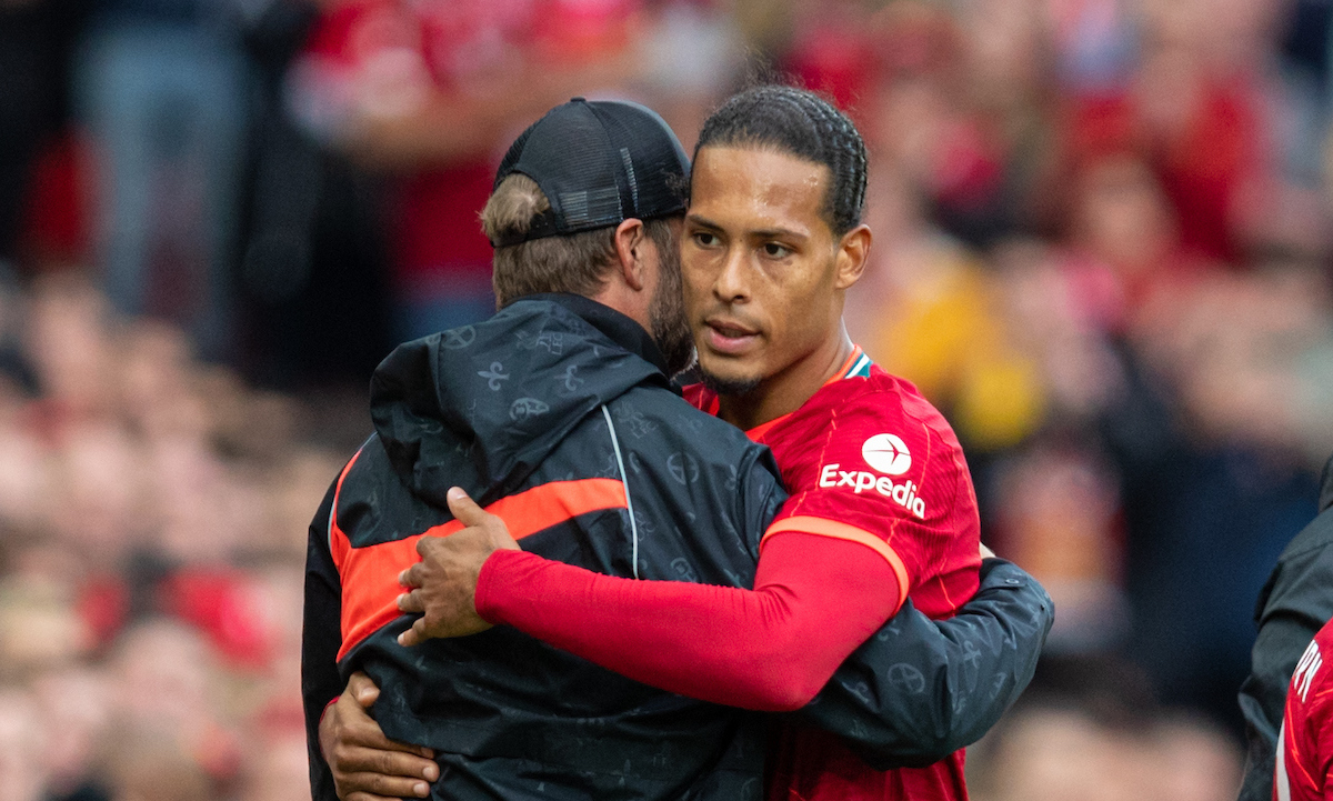 Liverpool's Virgil van Dijk embraces manager Jürgen Klopp as he is substituted during a pre-season friendly match between Liverpool FC and Athletic Club de Bilbao at Anfield