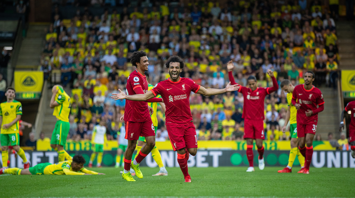 Liverpool's Mohamed Salah celebrates after scoring the third goal during the FA Premier League match between Norwich City FC and Liverpool FC at Carrow Road