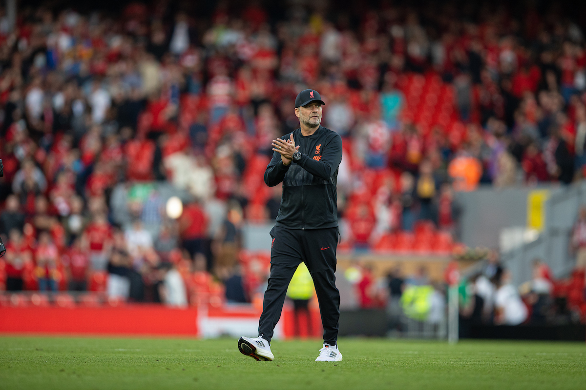 Liverpool's manager Jürgen Klopp applauds the supporters after the FA Premier League match between Liverpool FC and Chelsea FC at Anfield