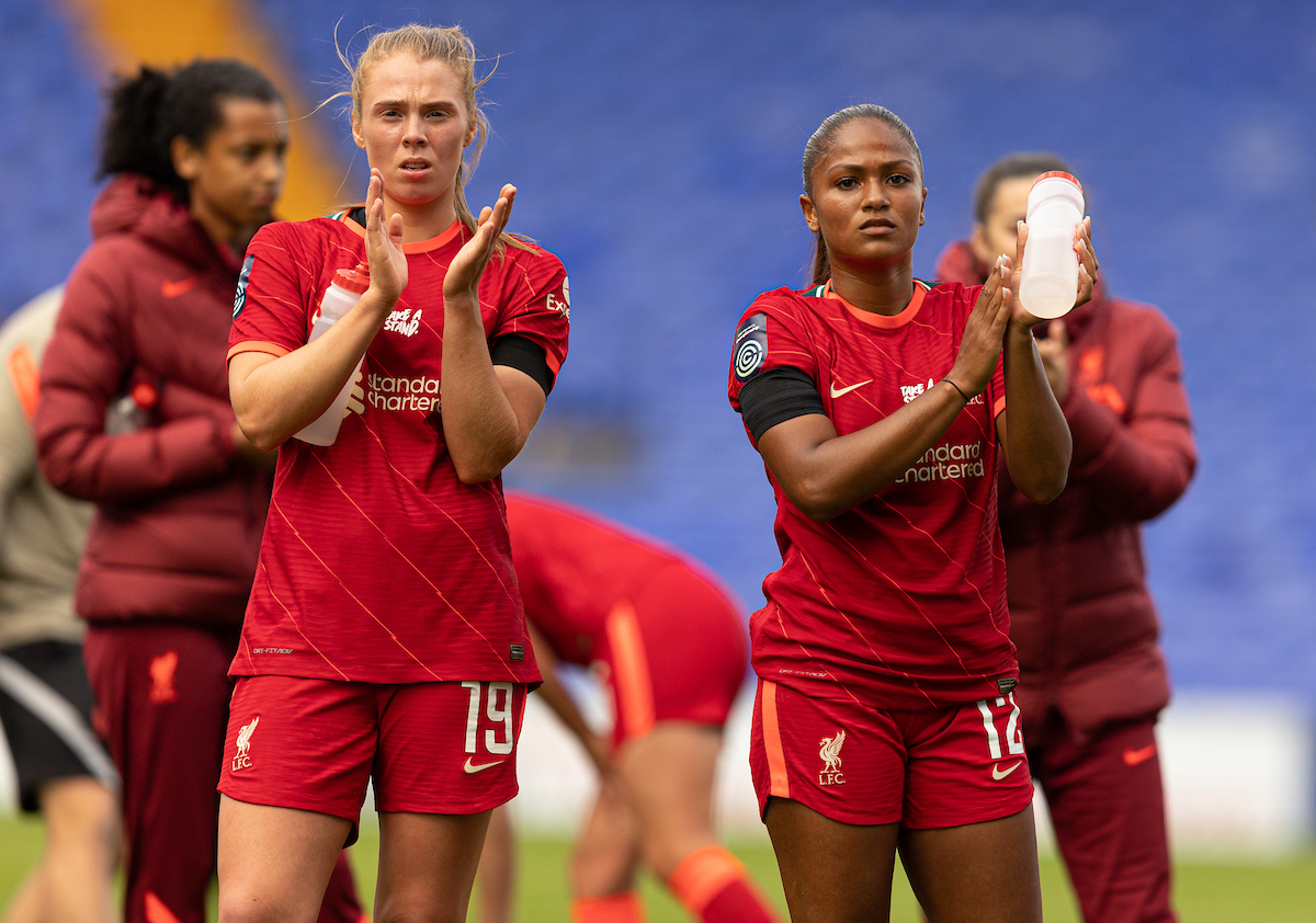 Liverpool's Taylor Hinds (R) and Rianna Dean (L) look dejected at full time after the FA Women's Championship game between Liverpool FC Women and London City Lionesses FC at Prenton Park