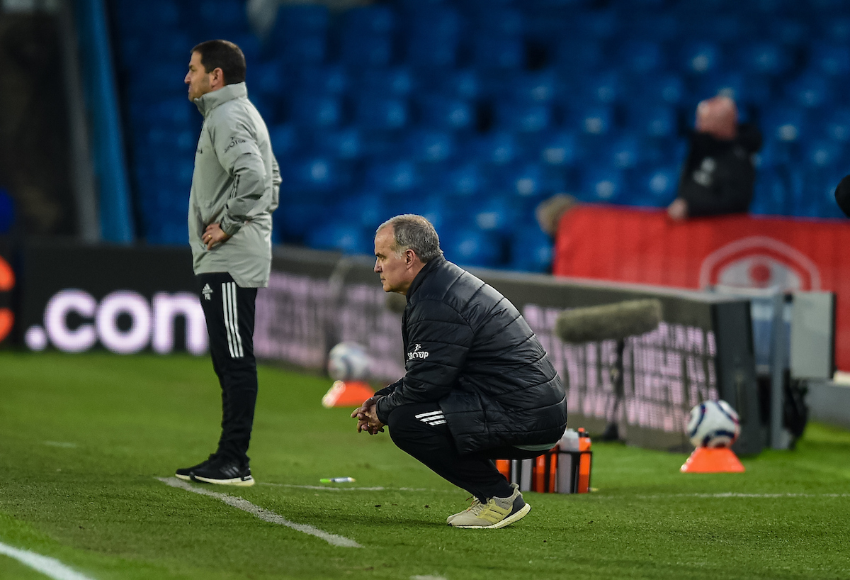 Leeds United's manager Marcelo Bielsa during the FA Premier League match between Leeds United FC and Liverpool FC at Elland Road