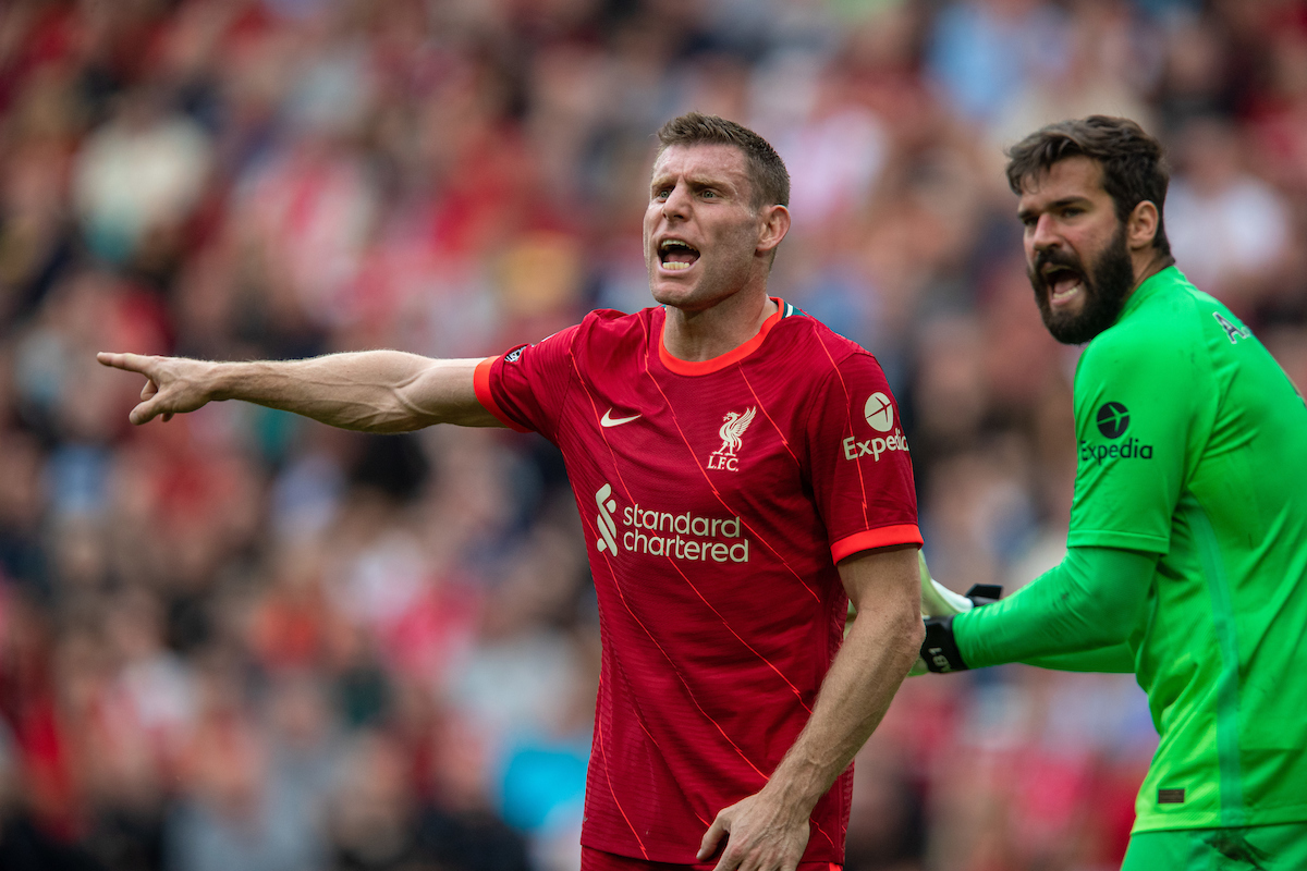 Liverpool's James Milner during the FA Premier League match between Liverpool FC and Crystal Palace FC at Anfield